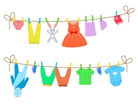 Cartoon Color Clothes on Clothesline Set Include of Dress, Pant and Socks. Vector illustration of Icons
