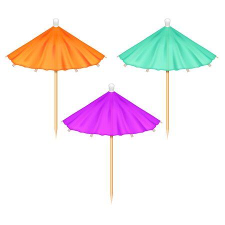 Realistic 3d Detailed Different Color Cocktail or Drink Umbrella Set for Decoration on a White. Vector illustration Illusztráció