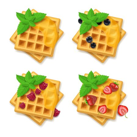Realistic Detailed 3d Belgian Waffle Set with Fresh Berry and Green Leaves Peppermint. Vector illustration of Sweet Dessert
