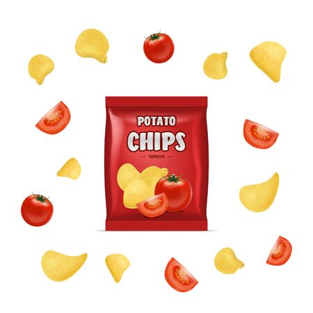 Realistic Detailed 3d Chips Advertisement Bag Crunchy Delicious Tasty Snack Product with Flavor Tomato. Vector illustration Illusztráció