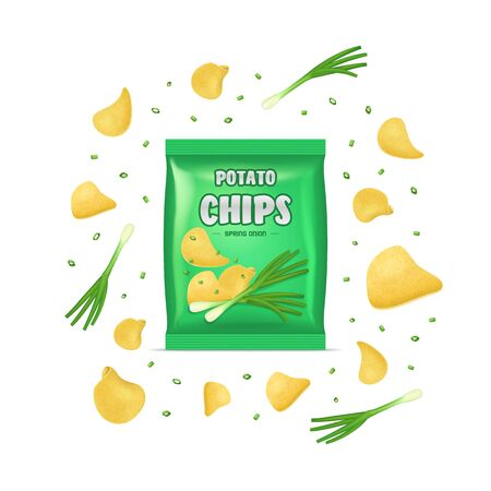 Realistic Detailed 3d Chips Advertisement Bag Crunchy Delicious Tasty Snack Product with Flavor Onion. Vector illustration