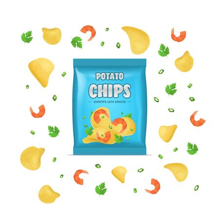 Realistic Detailed 3d Chips Advertisement Bag Crunchy Delicious Tasty Snack Product with Flavor Shrimp. Vector illustration