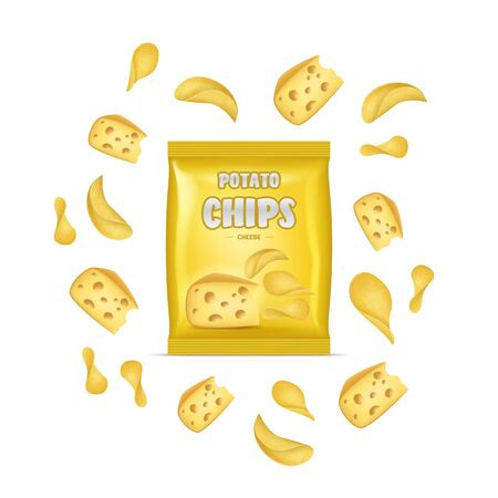 Realistic Detailed 3d Chips Advertisement Bag Crunchy Delicious Tasty Snack Product with Flavor Cheese. Vector illustration