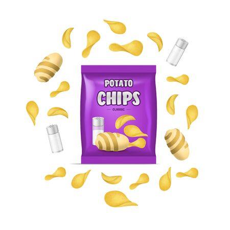 Realistic Detailed 3d Chips Advertisement Bag Crunchy Delicious Tasty Snack Product with Salt. Vector illustration Illusztráció