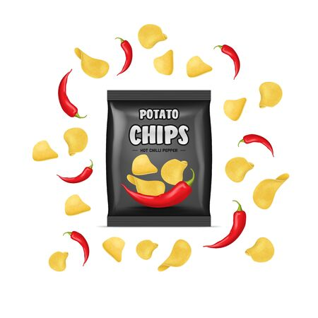 Realistic Detailed 3d Chips Advertisement Bag Crunchy Delicious Tasty Snack Product with Flavor Pepper. Vector illustration