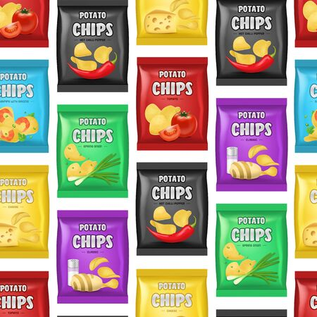 Realistic Detailed 3d Chips Advertisement Bag Seamless Pattern Background on a White Crunchy Delicious Tasty Snack Product with Different Flavors. Vector illustration