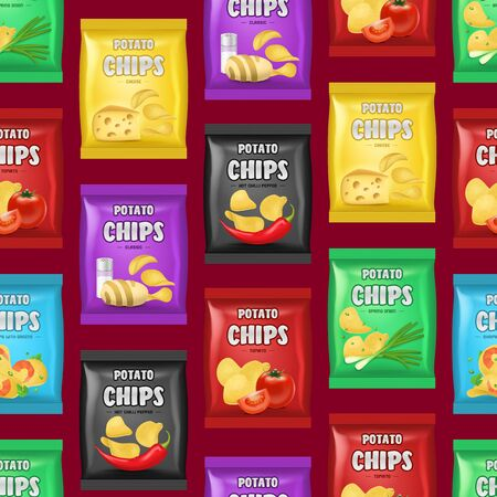 Realistic Detailed 3d Chips Advertisement Bag Seamless Pattern Background Crunchy Delicious Tasty Snack Product with Different Flavors. Vector illustration Illusztráció