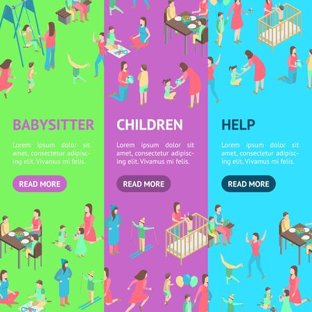 Characters Different Nanny Concept Banner Vecrtical Set 3d Isometric View Care of Child, Kid or Baby. Vector illustration