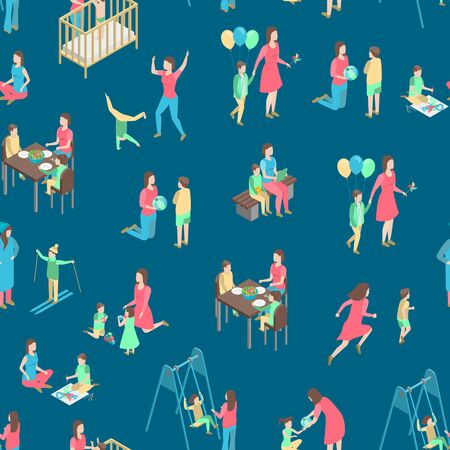 Characters Different Nanny Concept Seamless Pattern Background 3d Isometric View Care of Child, Kid or Baby. Vector illustration