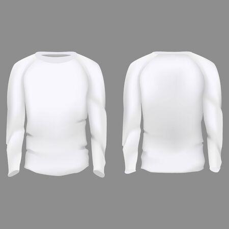 Realistic Detailed 3d Empty Men Slim-Fitting Long Sleeve Set Empty Blank Template. Vector illustration