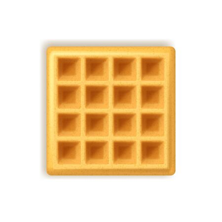 Realistic Detailed 3d Empty Belgian Waffle on a White. Vector Ilustração
