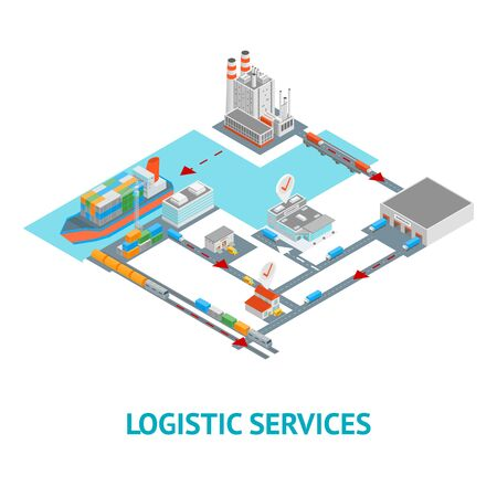 Logistic Transportation Concept Card 3d Isometric View. Vector