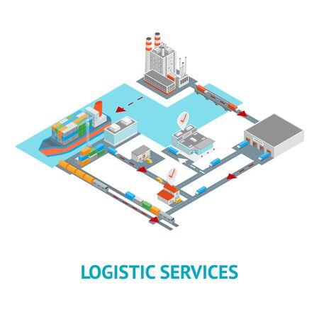 Logistische Transportkonzept Karte isometrische 3D-Ansicht. Vektor