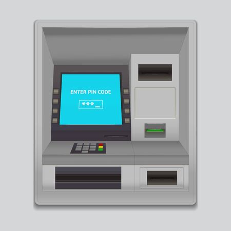 Realistische detaillierte 3D-ATM-Maschinenschnittstelle. Vektor