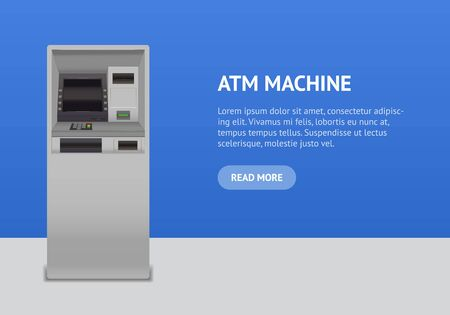 Realistic Detailed 3d Atm Machine Interface Concept Card . Vector Ilustrace