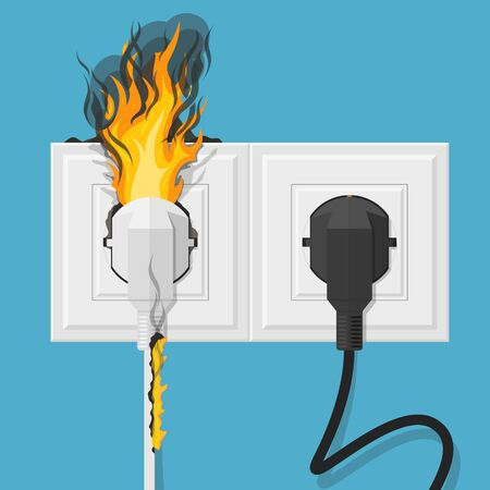 Cartoon Color Plug on Fire and Normal. Vector