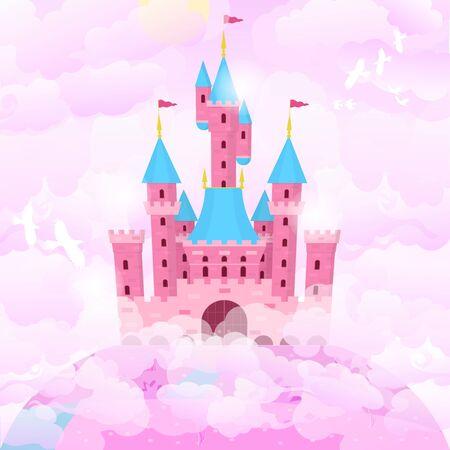 Cartoon Color Castle Princess Building on a Landscape Background Scene. Vector