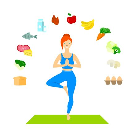 Cartoon Color Character Person and Healthy Food Concept. Vector Illustration
