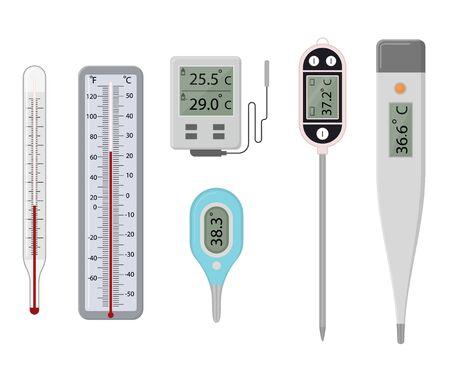 Cartoon kleur verschillende Thermometer Icon Set. Vector Vector Illustratie