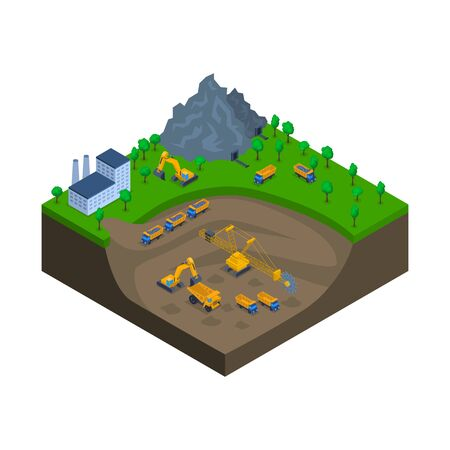 Mining Industry Scene Concept 3d Isometric View. Vector Çizim