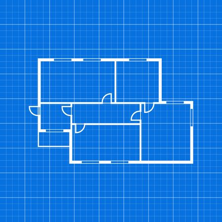 Apartment Plan Thin Line Top View. Vector