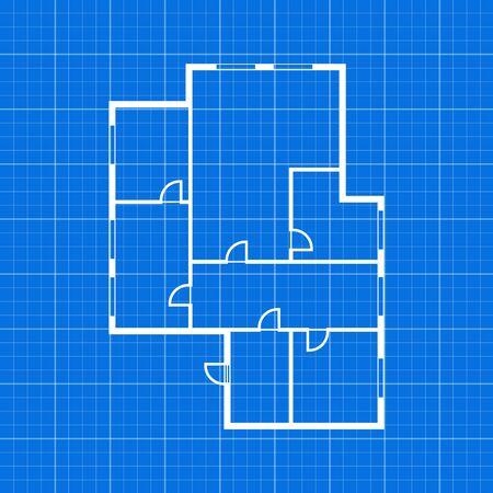 Apartment Plan Thin Line Top View. Vector Vetores