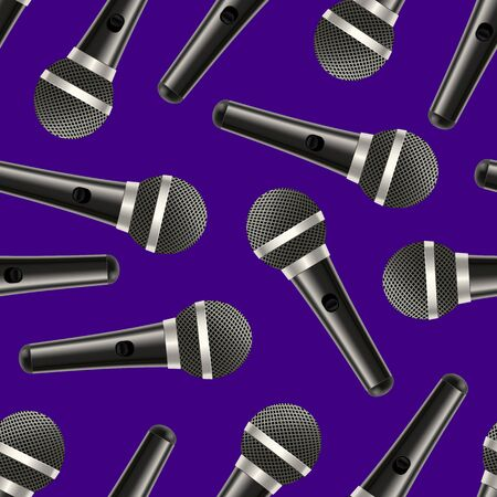 Realistic Detailed 3d Microphone Seamless Pattern Background. Vector Çizim
