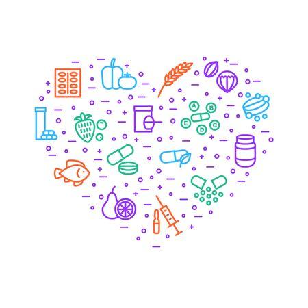 Vitaminas y signos dietéticos La plantilla de diseño en forma de corazón de línea delgada incluye suplemento, botella, comida, píldora, tableta y fruta. Ilustración de vector de iconos