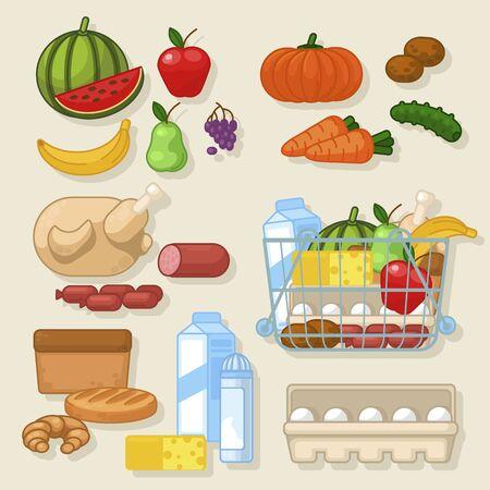Cartoon Farbe Kochen Produkt Icon Set. Vektor