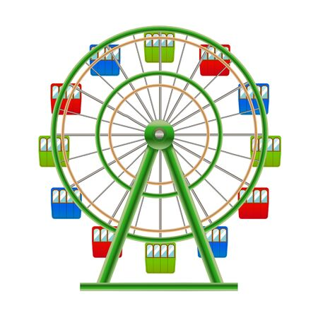 Realistic Detailed 3d Ferris Wheel Attraction. Vector Иллюстрация
