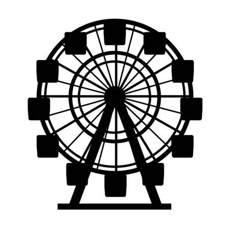 Silhouette Black Color Ferris Wheel Attraction. Vector Иллюстрация