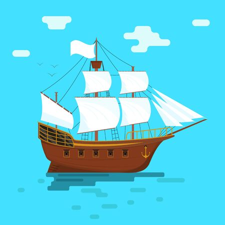 Cartoon Sailboat or Ship with White Sails. Vector