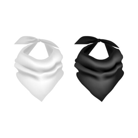 Realistic Detailed 3d Black and White Neck Scarf Set. Vector Banque d'images - 134676648