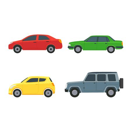 Cartoon Color Cars Sign Icon Set. Vector Stock Illustratie