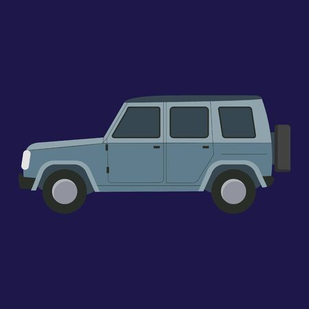 Cartoon Grey Car on a Blue. Vector