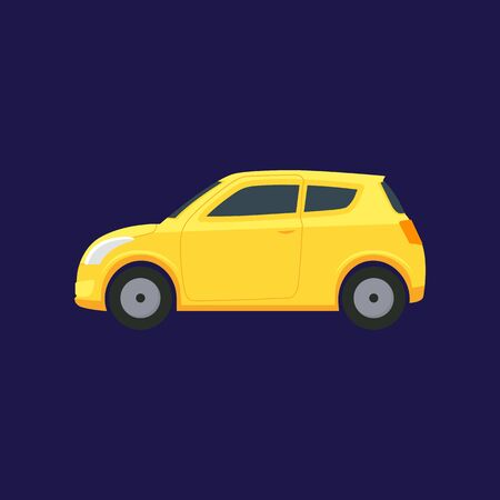 Cartoon Yellow Car on a Blue. Vector