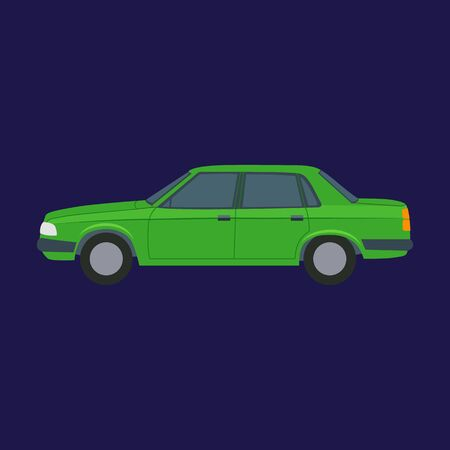 Cartoon Green Car on a Blue. Vector Stock Illustratie