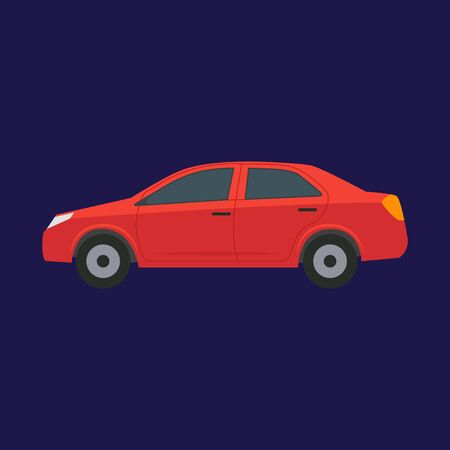 Cartoon Red Car on a Blue. Vector
