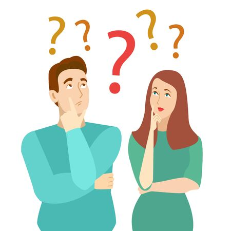 Cartoon Color Characters Persons Thinking Couple Concept. Vector Stock fotó - 134677153