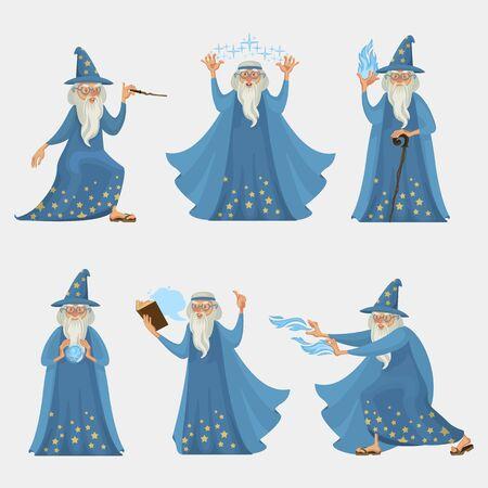 Cartoon Characters People Wizard Icon Set. Vector Foto de archivo - 134677229