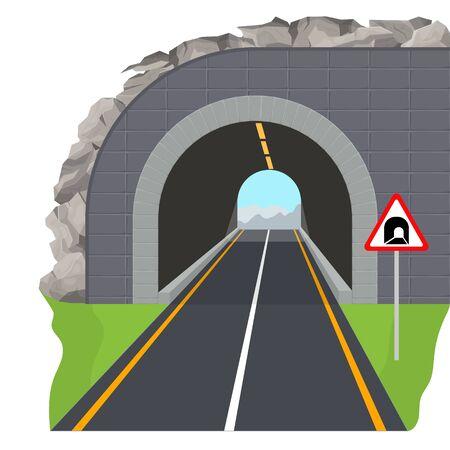 Cartoon Color Tunnel Highway Scene Concept. Vector