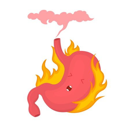 Cartoon Color Character Acid Reflux or Heartburn Pain and Healthcare Concept Flat Design. Vector illustration of Pyrosis Stomach