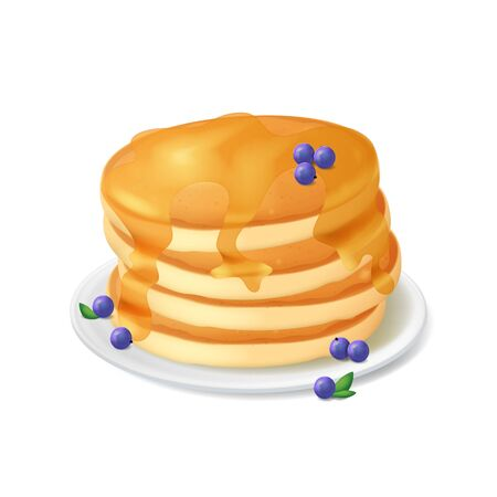 Realistic Detailed 3d Pancake Mix with Syrup and Blueberries on a White Plate. Vector illustration of Sweet Dessert Ilustrace