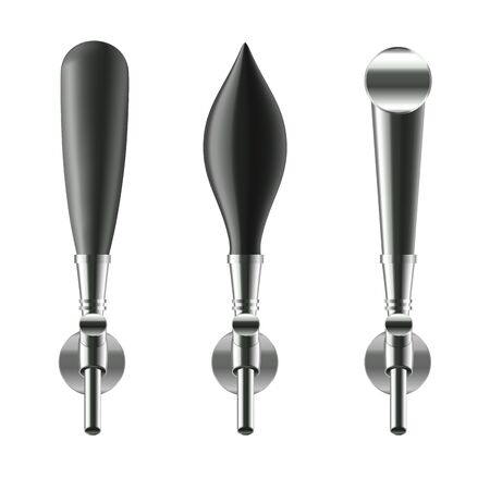 Realistic Detailed 3d Black Beer Taps Set Different Type Equipment for Bar and Pub. Vector illustration
