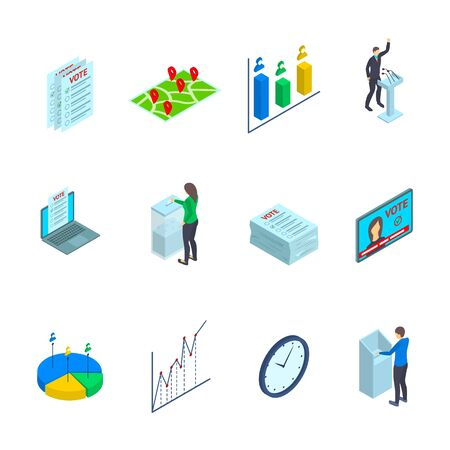 People Election Sign 3d Icon Set Isometric View. Vector