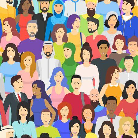 Personnages de couleur de dessin animé Concept de nationalités différentes de personnes. Vecteur