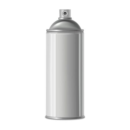 Realistic Detailed 3d White Blank Spray Metal Can Template Mockup. Vector