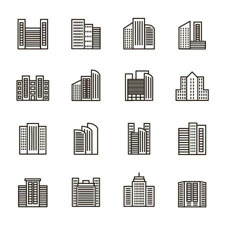 Gli edifici firmano l'insieme dell'icona di linea sottile nera. Vettore Vettoriali