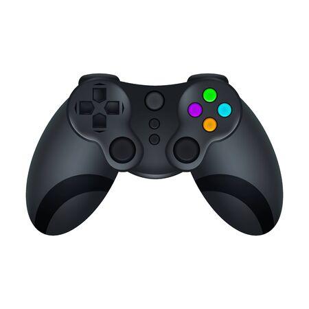 Realistyczny szczegółowy joystick 3d czarny gamepad. Wektor