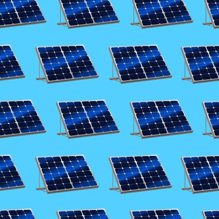 Realistic Detailed 3d Solar Panels with Shadow Seamless Pattern Background. Vector